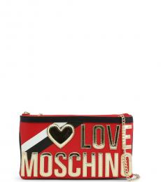 Love Moschino Red Metallic Logo Clutch