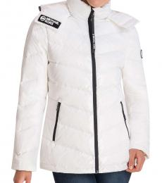 Michael Kors White Logo Puffer Jacket