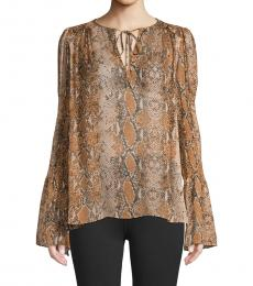Diane Von Furstenberg Brown Printed Silk Top