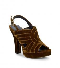 Diane Von Furstenberg Mustard Tabby Platform Heels
