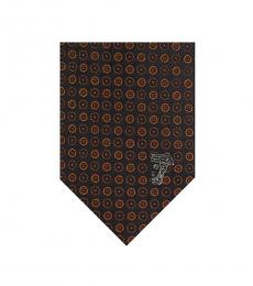 Versace Orange Logo Silk Tie