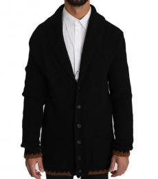 Black Knitted Wool Button Cardigan