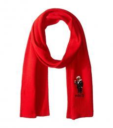 Ralph Lauren Red Santa Martini Knit Scarf