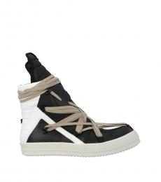 Rick Owens Black White High Top Sneakers