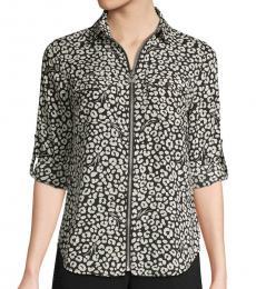 BlackWhite Printed Full-Zip Shirt