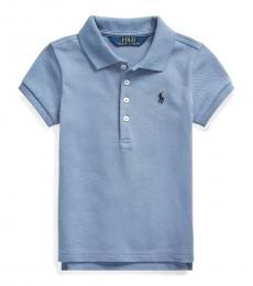 Ralph Lauren Little Girls Capri Blue Mesh Polo