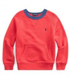 Ralph Lauren Little Boys Red Twill Terry Sweatshirt