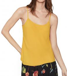 Yellow Flowy Spaghetti Strapped Cami Top