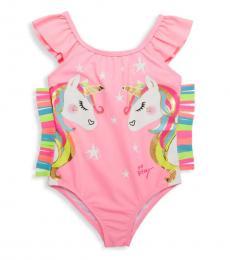 Betsey Johnson Little Girls Pink Unicorn Graphic One-Piece Swimsuit