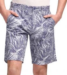 Blue Palm Frond Print Shorts