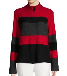 Red Colorblock Button-Front Jacket