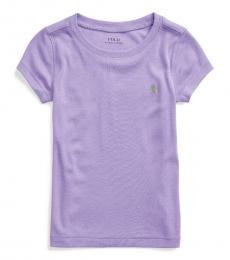 Ralph Lauren Little Girls Hampton Purple Cotton-Modal T-Shirt