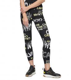 Black Printed High-Rise Leggings