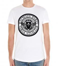Balmain White Coin Logo T-Shirt