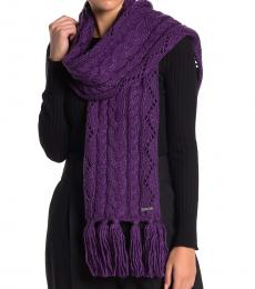 Orchid Pointelle Cable-Knit Scarf