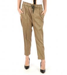 Brunello Cucinelli Light Brown Drawstring Waist Pants