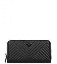 Prada Black Quilted Zip Wallet
