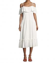 White Ruffle Detail Dress