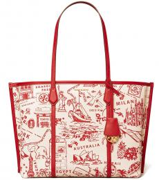 Tory Burch Red Destination Perry Printed Large Tote