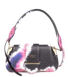 Prada Black Sidonie Printed Medium Shoulder Bag