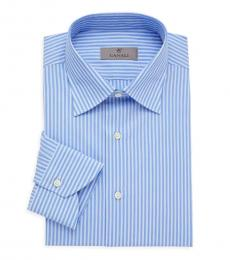Canali Blue Modern-Fit Striped Dress Shirt