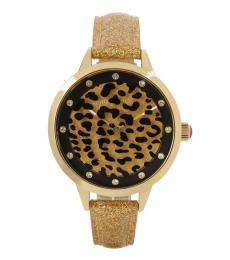 Leopard Rotating Glitter Watch