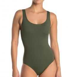 Olive Laced Back One-Piece Swimsuit