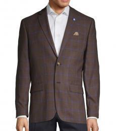 Ben Sherman Dark Brown Classic Plaid Sportcoat
