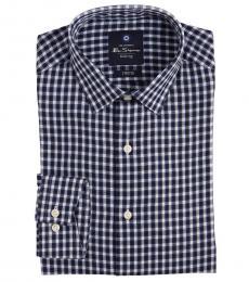 Dark Blue Stretch Collar Plaid Dress Shirt