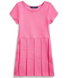Ralph Lauren Little Girls Baja Pink Pleated Ottoman-Rib Dress