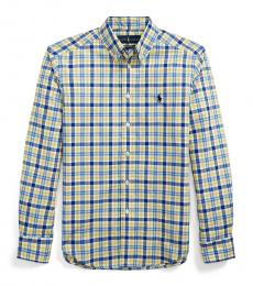 Ralph Lauren Boys Yellow/Blue Plaid Poplin Shirt