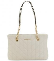 Winter White Quilted Large Tote