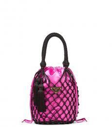 Prada Fuchsia Mesh Net Mini Bucket Bag