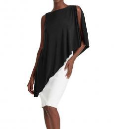 Ralph Lauren BlackWhite Asymmetrical Cape Dress