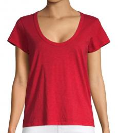 Rag And Bone Red Scoop Neck T-Shirt
