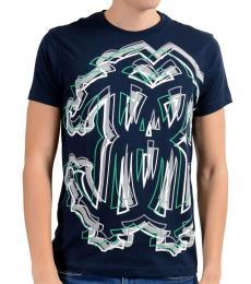 Roberto Cavalli Dark Blue Graphic Crewneck T-Shirt