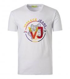 Versace Jeans White Multicolor Logo T-Shirt