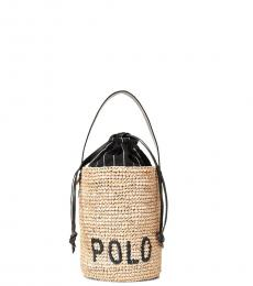 Ralph Lauren Light Tan Raffia Small Bucket Bag