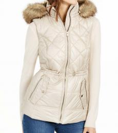 Michael Kors Khaki Hooded Faux-Fur-Trim Puffer Vest