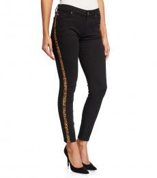 7 For All Mankind Black Ankle Side Stripe Jeans