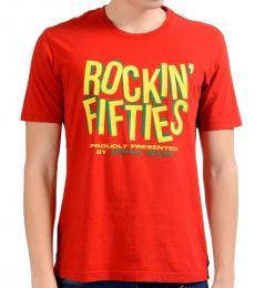 Armani Jeans Red Graphic Crewneck T-Shirt