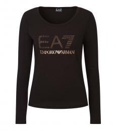 Emporio Armani Black Scoop Neck Long Sleeve Logo Tee