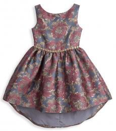 Badgley Mischka Girls Mauve High-Low Jacquard Dress