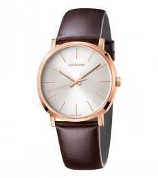 Calvin Klein Brown Posh Silver Dial Watch
