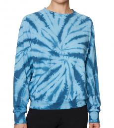 Betsey Johnson Rio Blue Tie-Dyed Cotton-Blend Sweatshirt