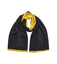 Armani Jeans Blue-Yellow Logo Scarf