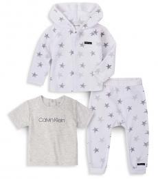 Calvin Klein 3 Piece Cardigan/T-Shirt/Pants Set (Baby Girls)