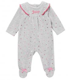 Juicy Couture Baby Girls Grey Velour Footed Coveralls