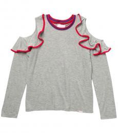 BCBGirls Girls Grey Ruffled Cold Shoulder Top