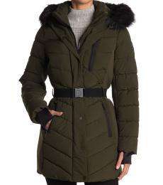 Michael Kors Olive Belted Fur Trim Hood Puffer Jacket